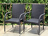 Patio Resin Outdoor Garden Deck Wicker Arm Chair. Black Color (Set of 2)