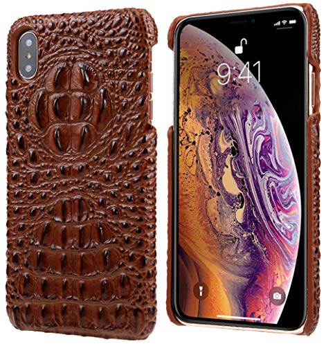 iPhone Xs Max Leather Case, Reginn Slim Fit Phone Cover [Wireless Charging Compatible] [Crocodile Head Pattern] Genuine Leather Case for iPhone Xs Max (Brown)