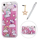 Image of iPhone 8 Case, iPhone 7 Case, KASOS Colorful Painting Pattern Bling Glitter Powder Quicksand Soft TPU Frame & PC Bottom Abrasion Resistant Slim Fit Lightweight Cover & Dust Plug & Stylus - Unicorn
