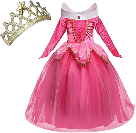 NNDOLL Disfraz de princesa Aurora Sleeping Beauty Dress para Niña ...