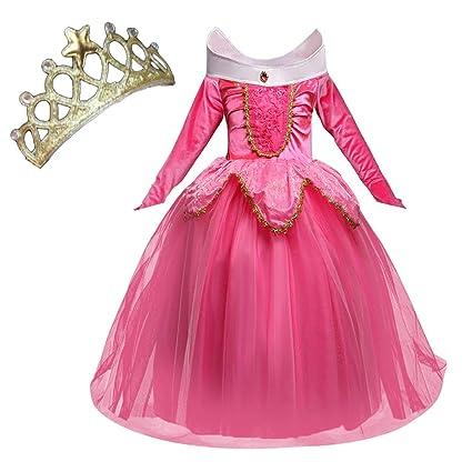 NNDOLL Disfraz de Princesa Aurora Sleeping Beauty Dress para Niña pequeña Carnival Vestido Rosa 5 6 años