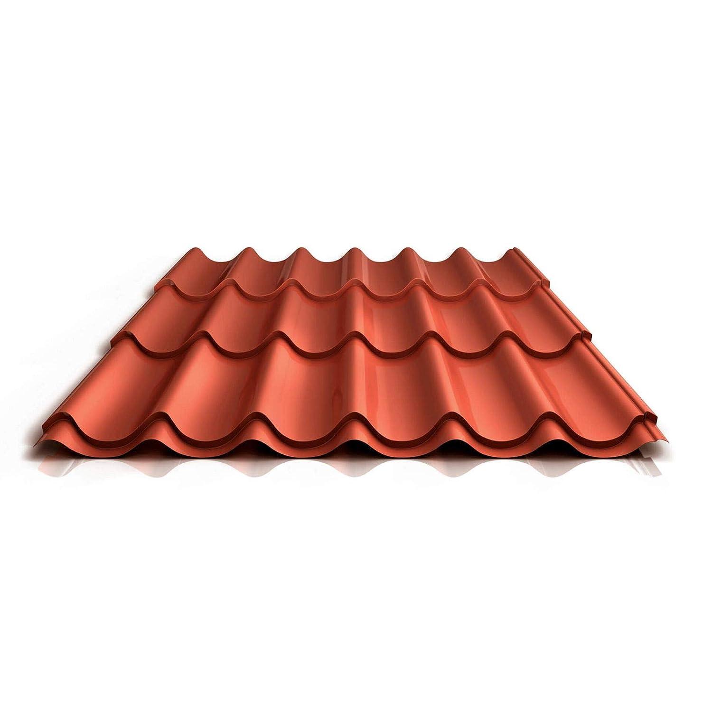 Pfannenblech St/ärke 0,45 mm Dachziegelblech Farbe Anthrazitgrau Ziegelblech Beschichtung 25 /µm Profil PS47//1060RT Material Stahl