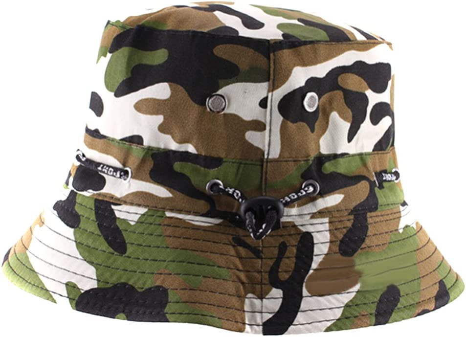 Natuworld Cotton Bucket Hats Camouflage Round Brim Boonie Bush Safari Fishing Hat Cap Summer for Unisex Men Women – 7 Color Available