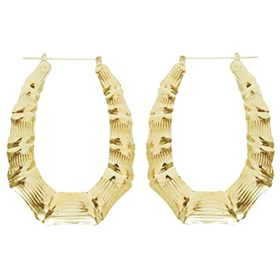 "a44418a86 Image Unavailable. Image not available for. Color: 2.5 X 3.25"" Oval  Bamboo Doorknocker Hoops, Old School!, in Gold Tone"