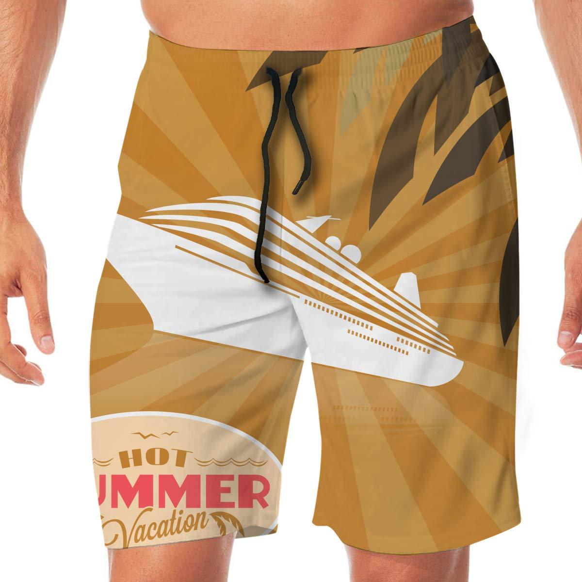 Amayc Mens Briefs Beach Pants Trunks Summer Vacation Orange Swimming Board Shorts