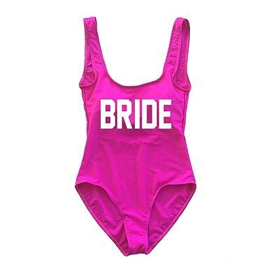 a1b7f5cd3e A Dash of Chic Hot Pink Bride One Piece Swimsuit- Bride Monokini at Amazon  Women's Clothing store:
