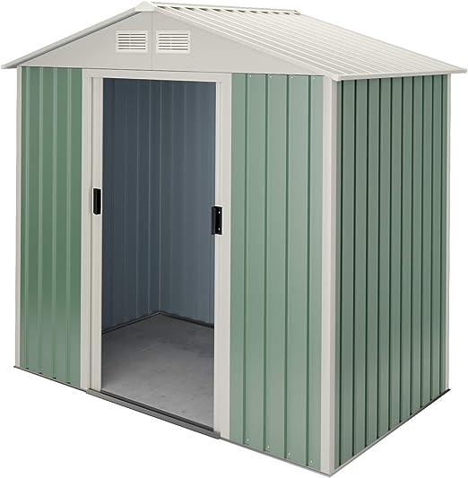 Hoggar by Okoru Caseta metálica Verde/Beige para Almacenamiento 2, 43 m2 201x121x176cm. Cobertizo Jardin: Amazon.es: Jardín