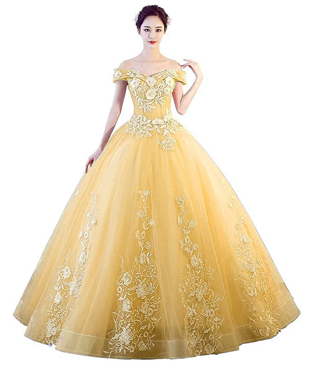 AYellow 1 LEJY Women's Off The Shoulder Quinceanera Dresses Applique Masquerade Ball Gowns Prom Dresses