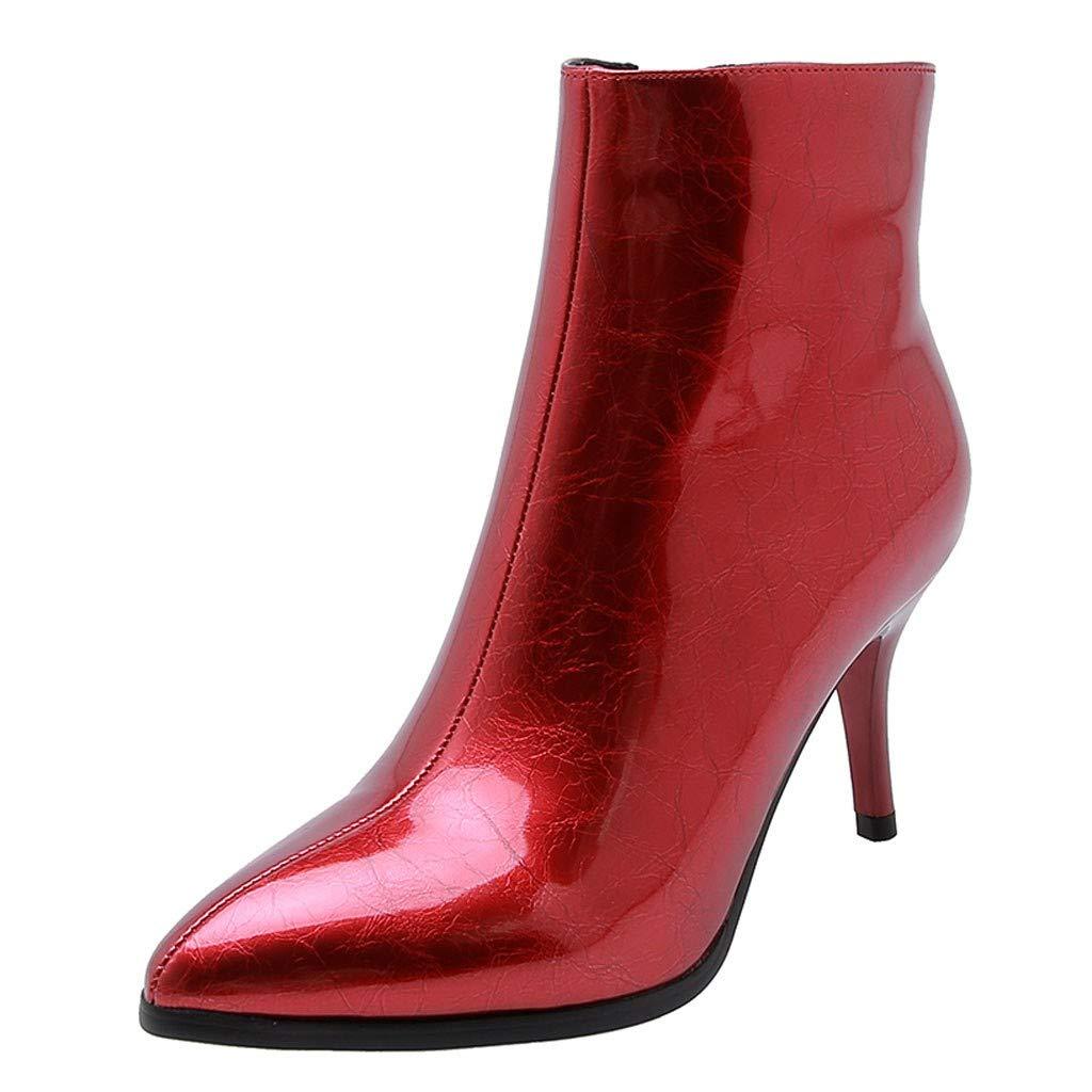 BIKETAFUWY Women Pointed Toe Zipper Ankle Boots High Stiletto Heels Pumps Solid Color Trendy Party Dress Booties Red by BIKETAFUWY