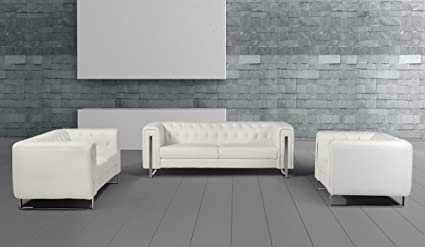 Amazon.com: Divani Casa Salvia Modern White Leatherette Sofa ...