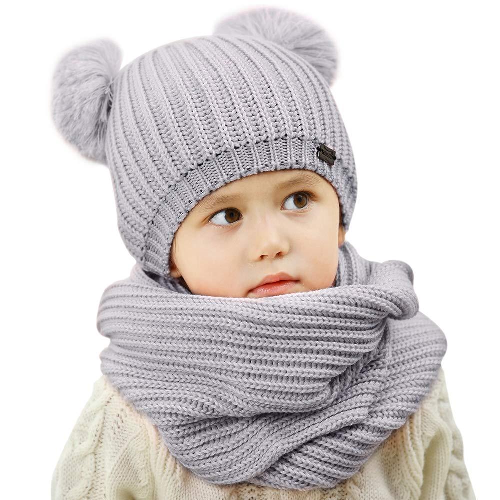 Kids Winter Pom Pom Hat -Soft Warm Beanie Knit Hats Scarf Set For Baby Boys Girls Toddler Children FURTALK Original, grey,Onesize by FURTALK