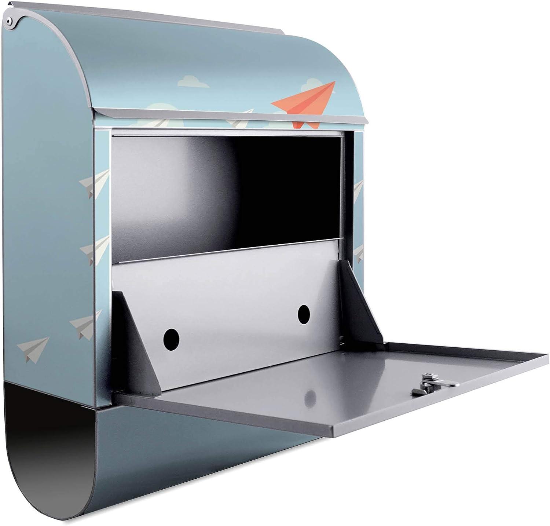 Stahl pulverbeschichtet mit Zeitungsrolle A4 Einwurf Montagematerial 2 Schl/üssel Banjado Design Briefkasten personalisiert mit Motiv WT Wolken inkl Gr/ö/ße 39x47x14cm