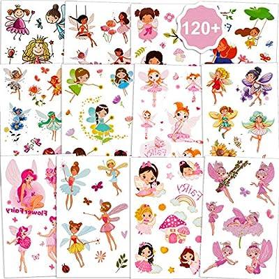 Qpout Hada de las flores Tatuajes temporales para niñas(120 + piezas), jardín de hadas princesa flor tatuaje pegatinas impermeables tatuajes para niños cumpleaños fiesta hada princesa fiesta regalo: Amazon.es: Belleza