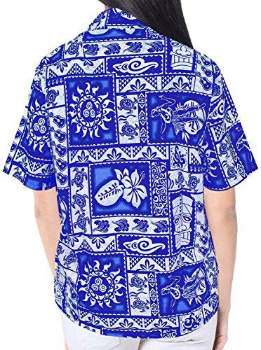 La Leela guitarra geo botón señoras la manga corta hacia abajo 4 en 1 Hawaii tema partido eventuales día fiesta sala estar blusa regalo regular fit plus boho la tapa tamaño camisa hawaiana azul real Azul