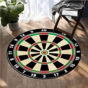 Sports Kids Play Rug Super Soft Office Chair Cover Carpet Round Round 6.5ft Diameter Dart Board Numbers Sports Accuracy Precision Target Leisure Time Graphic