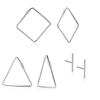 1d8c16a01 3 Pairs 925 silver Earrings Minimalism Dainty Hollow Triangle/Square Hoop  Earrings NOT Stainless Steel