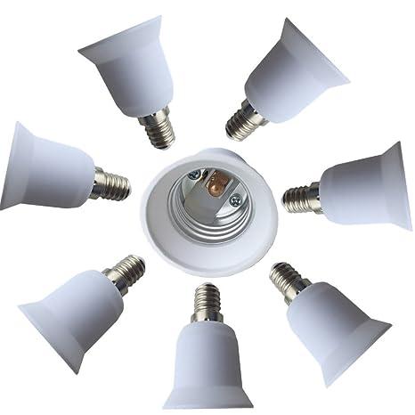 dzydzr 8 pieza adaptador de casquillo E14 a E27 para bombillas LED