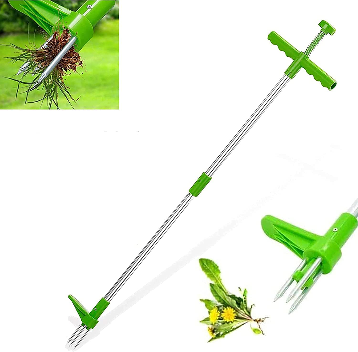 Standing Plant Root Remover with 3 Stainless Steel Claws, Weed Puller Tool Garden Stand Up Weeder with Claws for Dandelion, Steel Twist Hand Weed Root Pulling Tool, Picker with 39
