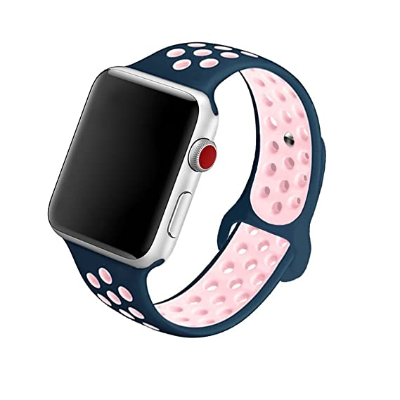 5Daymi Soft Silicone Replacement Band for Apple Watch Nike + Series 3,  Series 2, Series 1 (Midnight Blue/Pink,38mm-S/M)