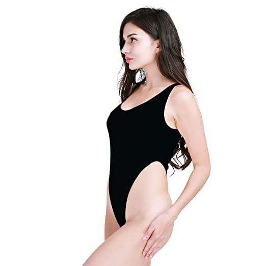 164e0f1f0d iiniim Women s Stretchy High Cut Thong Leotard Gymnastics Bodysuit Swimsuit  Black one Size