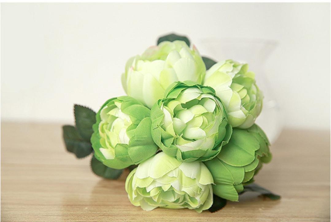 Beige TM Willtoo 1 Bouquet 6 Heads Artificial Peony Silk Flower Leaf Home Wedding Party Decor