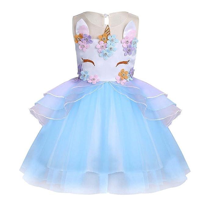 FONLAM Vestido de Fiesta Princesa Niña Disfraz de Unicornio Ceremonia Cumpleaños Vestido Infantil Flores Carnaval Niña