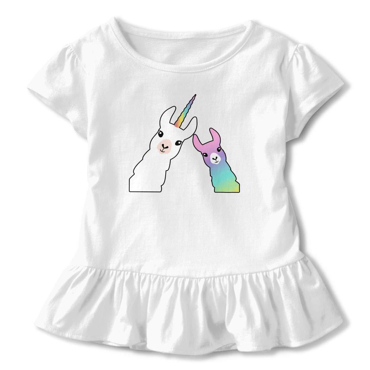 Cute Unicorn Llama Alpaca Toddler Baby Girls Cotton Ruffle Short Sleeve Top Soft T-Shirt 2-6T