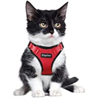 Small Dog Harness, Cat Harness Red Escape Proof Cat Harness Adjustable Vest Harnesses with Reflective Strap Soft Mesh Metal Clip No Choke Comfort Fit Walking Jacket for Girl Kitty