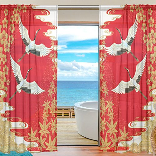 SEULIFE Window Sheer Curtain, Japan Japanese Cranes Flower Cherry Voile Curtain Drapes for Door Kitchen Living Room Bedroom 55x78 inches 2 Panels (Window Japan)