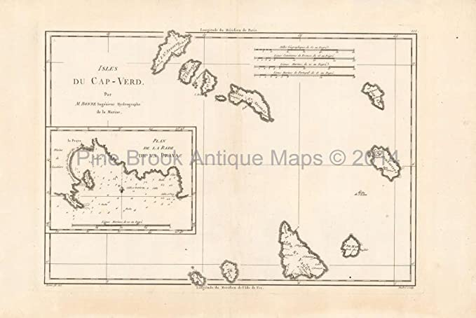 Cape Verde Islands Antique Map Bonne 1788 Original at Amazon\'s ...