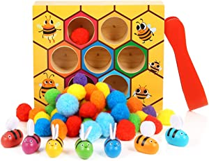 PP OPOUNT Toddler Fine Motor Skill Toy, Wooden Clamp Bee to Hive Matching Game with 50 Pieces 1-inch Pom Poms for Children Early Educational Learning