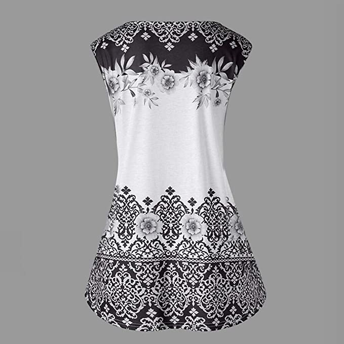 MORETIME Frauen Weste Mode Plus Size Printed Tank Tops ärmellose Bluse Keyhole T-Shirt Damska Sommerkleider Kurzarm Kleider Casual T-Shirt Kleid Loose Fit für Alltag: Odzież
