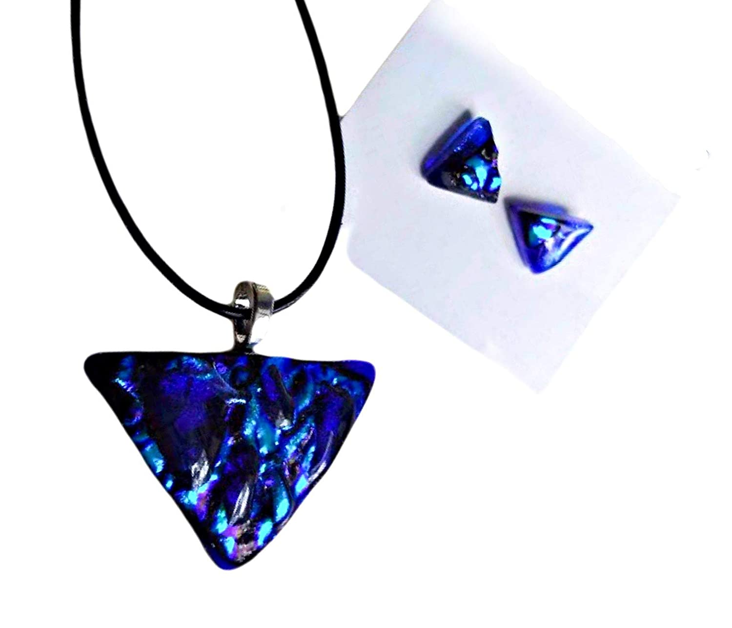 Fused glass crystal necklace