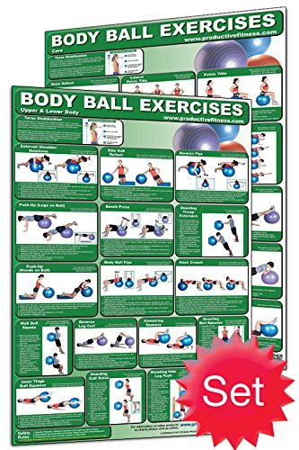 Productive Fitness Laminated Fitness Poster - Body Ball Exercises - Set of 2 (Core & Upper Body / Lower Body) - 24