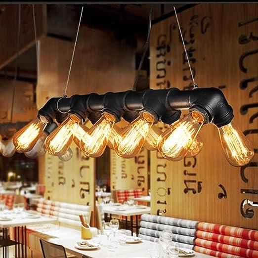 Glighone Lámpara Colgante Lámpara Antigua Luz Industrial Lámpara de Techo 60W*10 Interfaces Luz Vintage de Tubo Luz de Pantalla de Cuerdas Iluminación ...