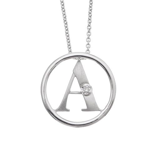 925 Sterling Silver Matte Finish Alphabet Initial Letter A Diamond Pendant Necklace 0.04 carat