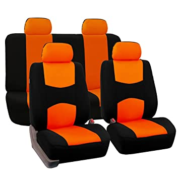 FH Group Universal Fit Full Set Flat Cloth Fabric Car Seat Cover Orange