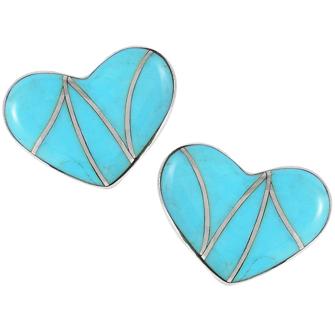 Turquoise Earrings 925 Sterling Silver & Genuine Turquoise (Hearts)