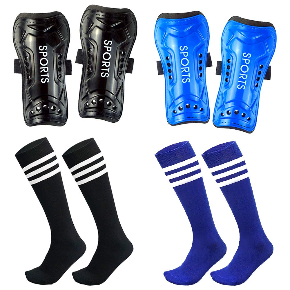Chenyee Shin Guards for Kids Youth Soccer Knee High Socks Protective Gear Pad Football Shinguard Protector Equipment Fit 5-12 Years Old Boys Girls Teenager Child Sports Elastic Band