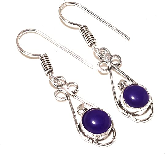 Blue Dyed Sapphire Sterling Silver Overlay 5 Grams Earring 1.75 Long Stunning