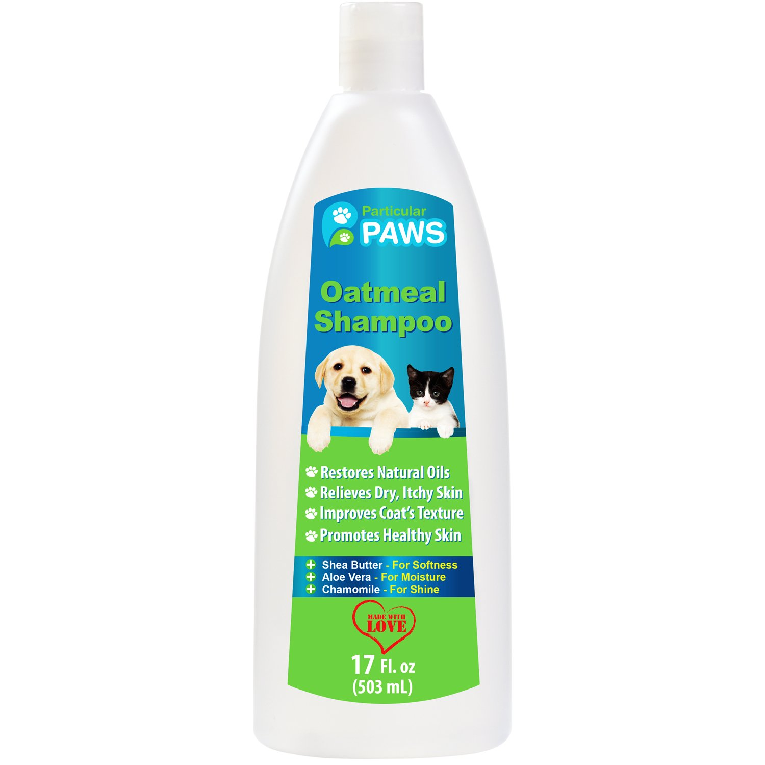 Oatmeal Shampoo for Dogs and Cats with Shea Butter, Aloe Vera, Chamomile - 12oz