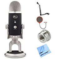 Blue Microphones Yeti Pro USB Condenser Microphone, Multipattern (BLUE-YETIPRO) + Suspension Boom Scissor Arm Stand + Universal Pop Filter Microphone Wind Screen + Mic Stand Adapter + MicroFiber Cloth