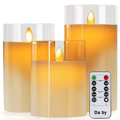 "Da by Flameless Candles with Glass Effect 4"" 5"" 6"" Set of 3 Drip-Less Real Wax Pillars Include Realistic Dancing LED Flames and 10-Key Remote Control with 24-Hour Timer Function: Home & Kitchen"