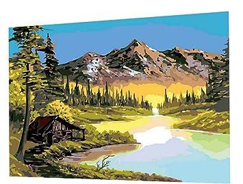 16X20 Zoll DIY Anstrich Bob Ross Malerei Wandmalerei Malen Auf Leinwand  Startseite Decorative Art Bild (