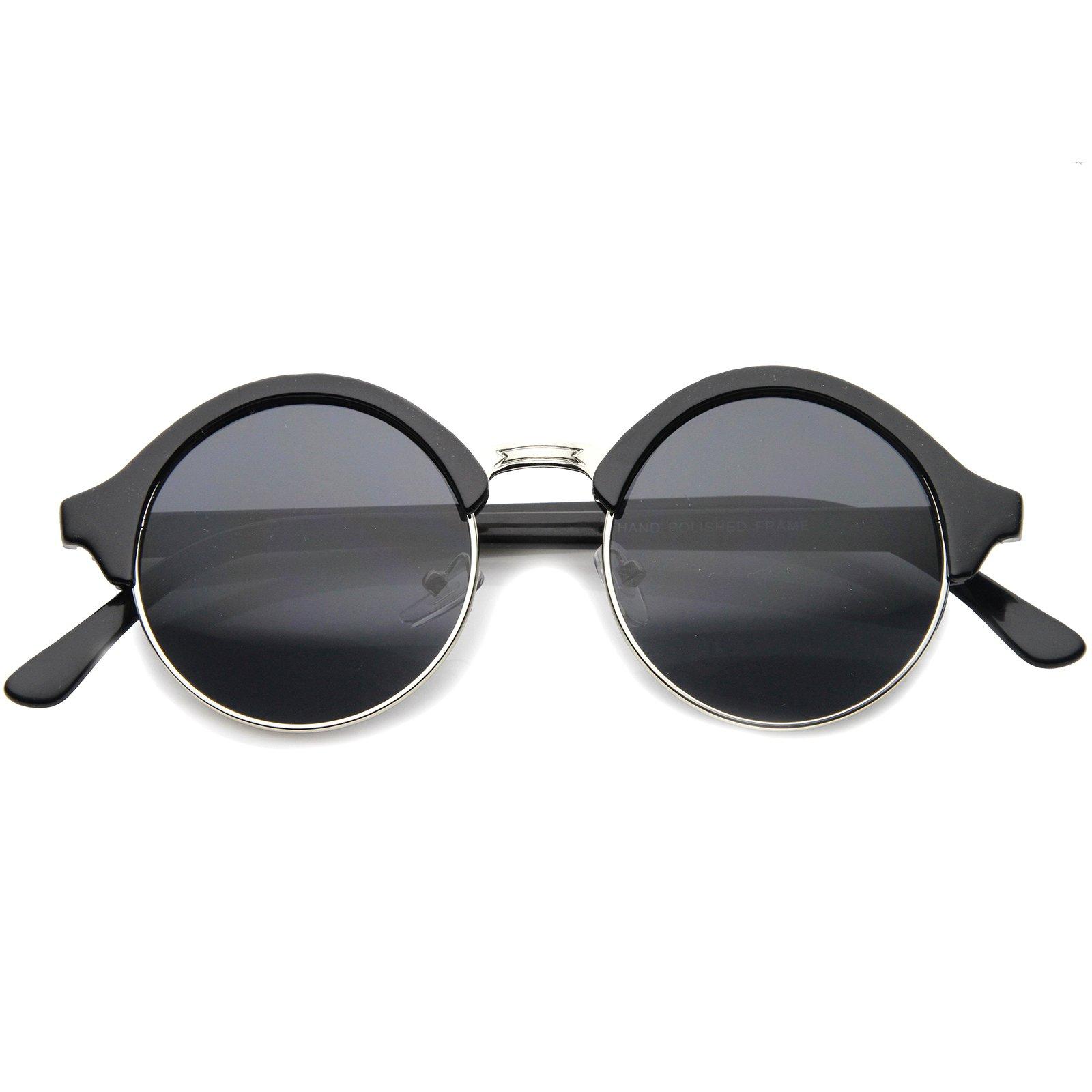 241059b09d Galleon - ZeroUV - Vintage Inspired Classic Half Frame Semi-Rimless Round  Circle Sunglasses (Black-Silver   Smoke)