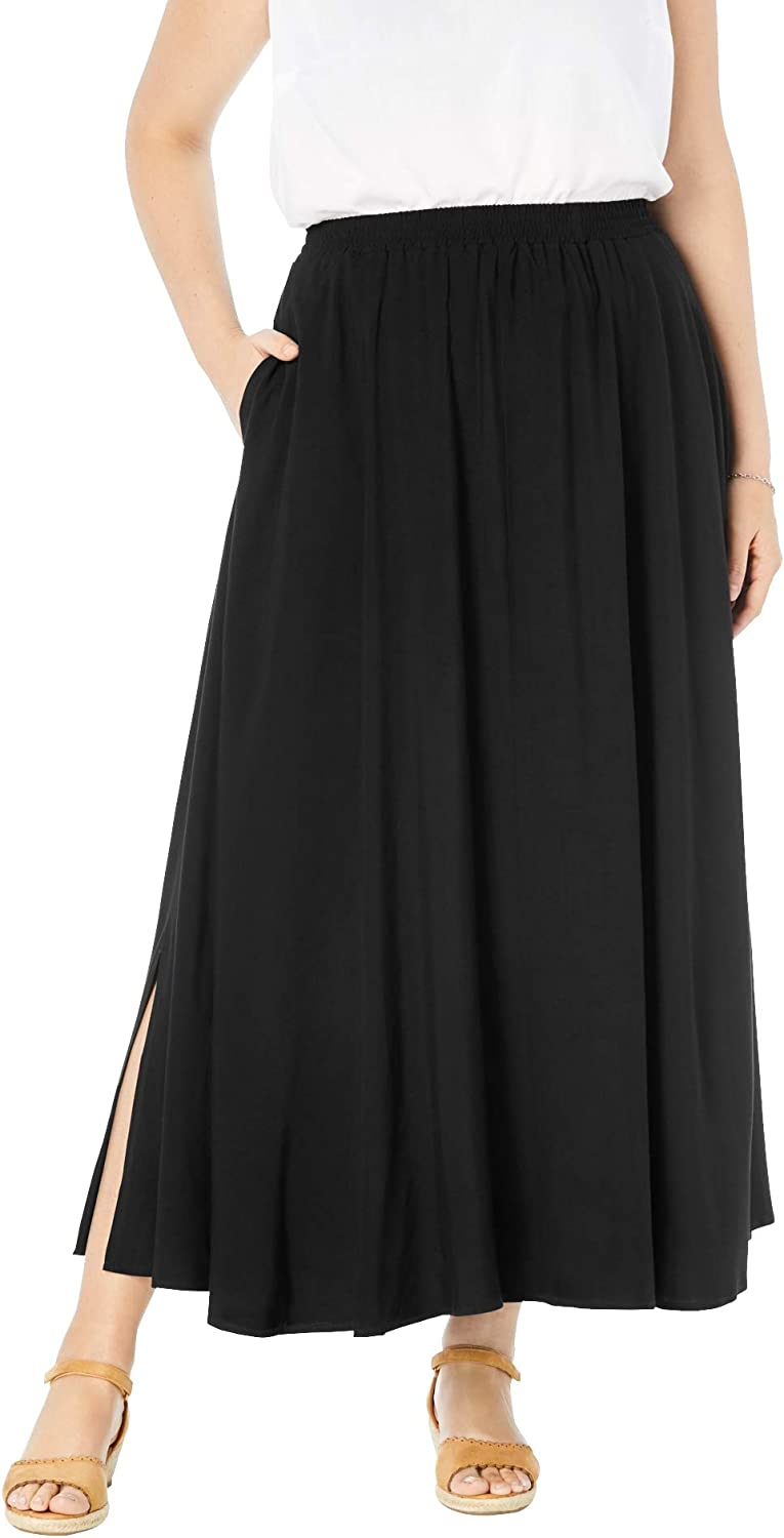 Woman Within Women's Plus Size Pull-On Elastic Waist Soft Maxi Skirt