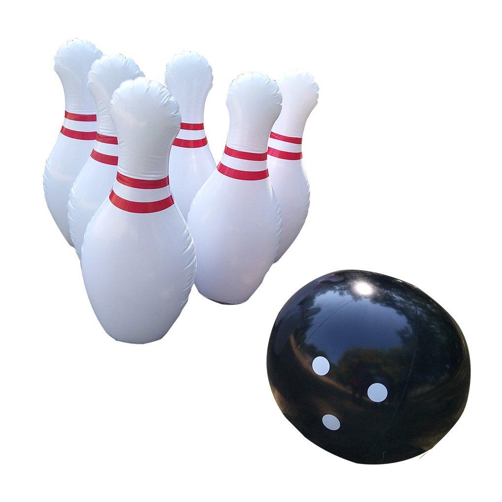 Lafuncosa Outdoor Indoor Giant Inflatable Bowling Pin Set 6pcs 39'' Pin 1pc 23.6'' Bowling Ball