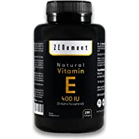 Vitamina E Natural 400 UI (D-Alfa-Tocoferol) | 200 perlas: Suministro para más de 6 meses | Antioxidante que protege las células del estrés oxidativo | No GMO | de Zenement