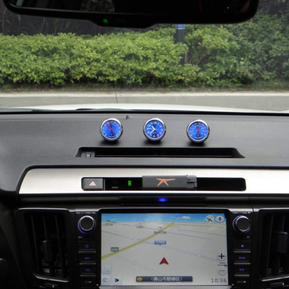 MOGOI Car Dashboard Clock Office 3Pcs Cars Air Vent Mechanics Quartz Clocks Mini Automotive Thermometer Hygrometer Stick-On Clock Perfect Decoration for Cars SUV and MPV