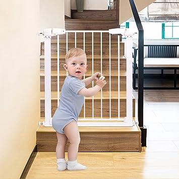 Extra Wide Baby Gate Pet Door For Stairs Doorways Indoor White Metal Easy  To Open Wall